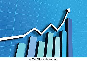 bar graph chart - bar graph going up on blue background
