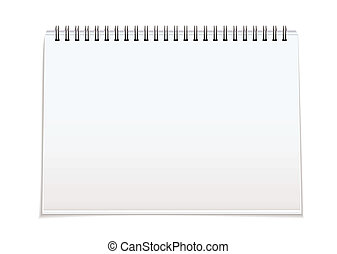 Spiral bound blank pad - Plain white paper note pad with...