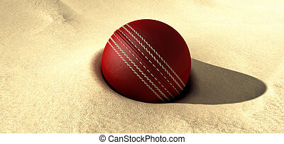 Cricket Ball Buried In Sand - A red leather cricket ball...