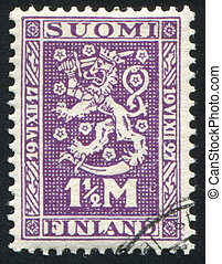 Coat of arms of Finland - FINLAND - CIRCA 1927: stamp...