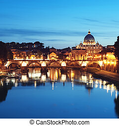 Night image of St Peters Basilica, Ponte Sant Angelo and...