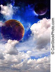 Space sky in alien planet