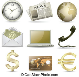 Business icons - Business website gold icon set