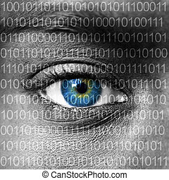Blue eye extreme close up and binary numbers