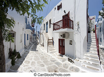 Typical street in Mykonos - Street in Chora, Mykonos island,...