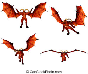 Red Demon Pack - Illustration of a pack of four 4 red demons...