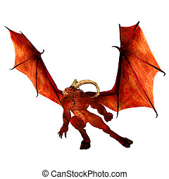 Red Demon - Illustration of an angry red demon isolated on a...
