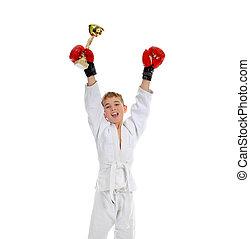 joven, niño, entrenamiento, karate