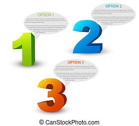 One two three - 3D vector progress icons for three steps and...