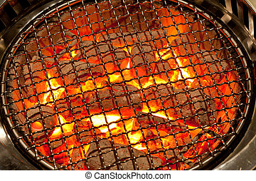 charcoal background - fired charcoal with grill plate for...