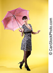 sexy woman with rose umbrella pinup style