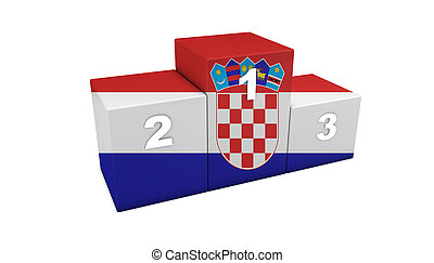 Croatian Podium - Croatian top positions 3d rendering Podium...
