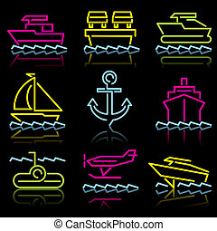 line icons water trans - Water transport. Set of vector...