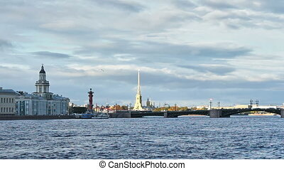 University Embankment and Palace Bridge, Staint Petersburg,...