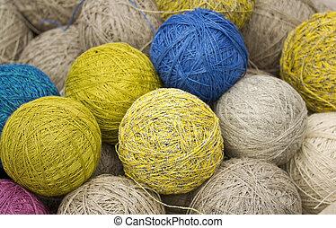 pelotas, hilo, natural, fibras, cáñamo