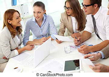 Debating - Image of confident partners sharing new ideas at...
