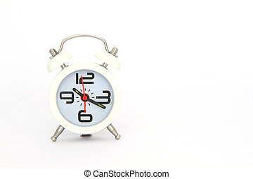 Clock a over white background