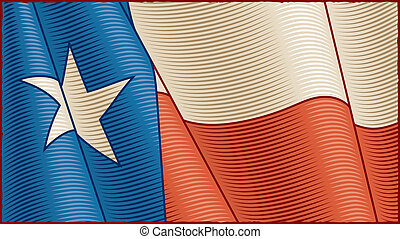 Vintage Texas Flag close-up - Vintage Texas flag in woodcut...