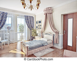 childrens room - childrens luxury room interior 3d image