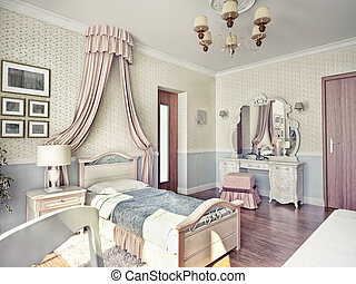 children's  room - children's luxury room interior 3d image