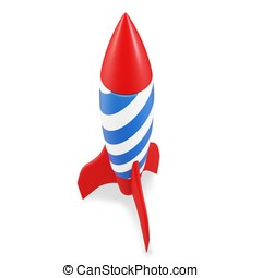 3d red space rocket detailed on white background