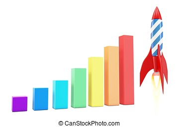 3d rocket with diagram graph bars on white background