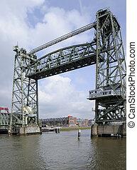 De Hef bridge, rotterdam - view of old iron lift bridge in...