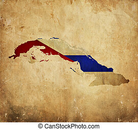 Vintage map of Cuba on grunge paper - Vintage map of Cuba on...