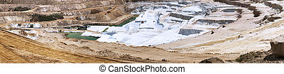 sand quarry - panoramic shot on an open sandy quarry