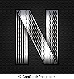 Letter metal chrome ribbon - N - Letter metallic chromium...