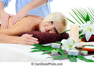 Young woman at spa procedure