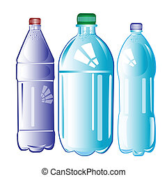 Plastic bottles with water on white background is insulated