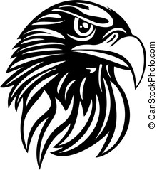Eagle Head Line Art Vector - Head of a white-headed sea...