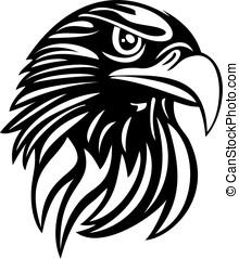 águia, cabeça, linha, arte, vetorial