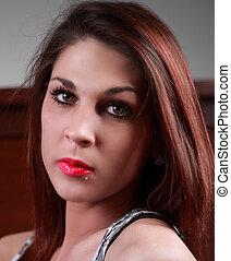 Beautiful lady, red lips