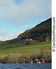 Creag Nay and Drumnadrochit harbour, Scotland in may. -...