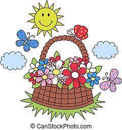 summer sun flowers butterflies