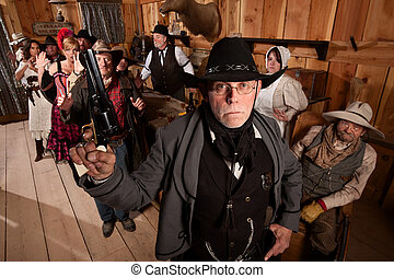 Tough Sheriff in Saloon - Serious old west sheriff in bar...