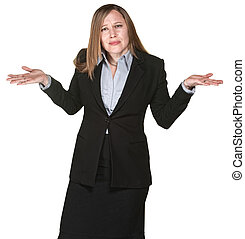 Confused Business Woman - Confused business woman with hands...
