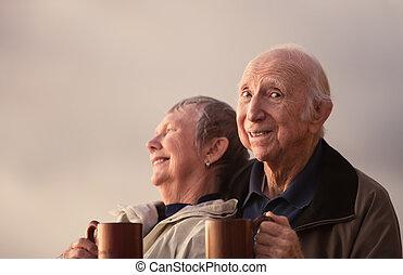 esterno, Felice, coppia, anziano, cittadino
