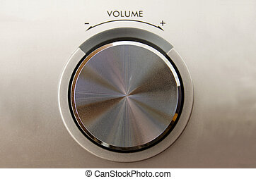 Volume knob - Close up of a metallic volume knob