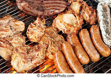 Meat on the barbecue grill - Various meats like chicken,...