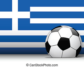 Greece Soccer Ball with Flag Background