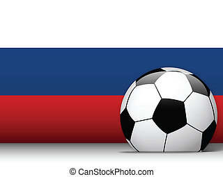 Russia Soccer Ball with Flag Background