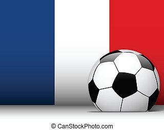 France Soccer Ball with Flag Background - Vector - France...