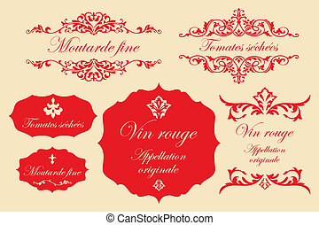 Vintage labels in french - fine mustard, dried tomatoes, red...