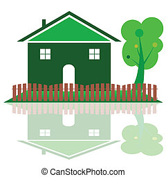 house in green color with tree illustration