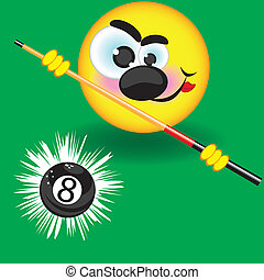 Funny smiling pool ball on the green background