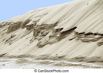 Sand riverbank - Dry sand escarp on a river, view from below