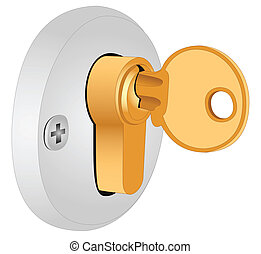 The key in the lock - Illustration of the key in the lock on...